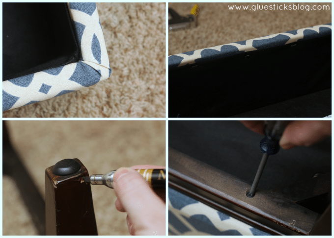 These step by step photos will show you how to reupholster a storage ottoman the quick and easy way! Breathe new life into an old ottoman with new fabric! This two hour project is great for beginners.