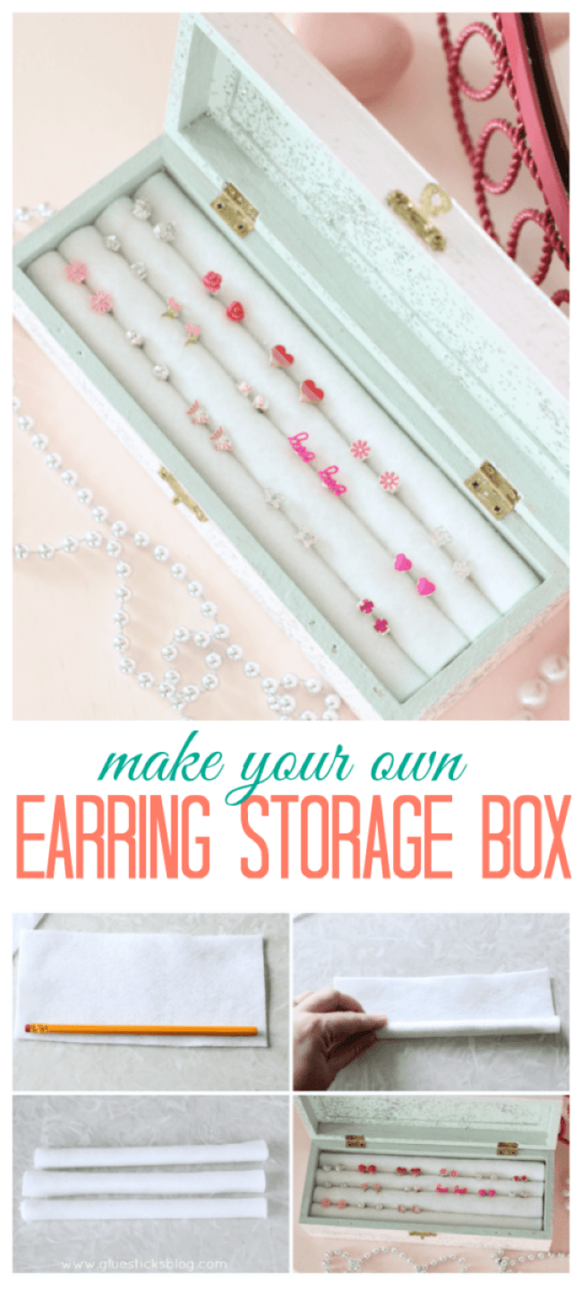 Would you believe it if I told you this earring storage box was made from pencils and felt? Crazy I know but read on to see how to make this darling earring storage box for under $5.