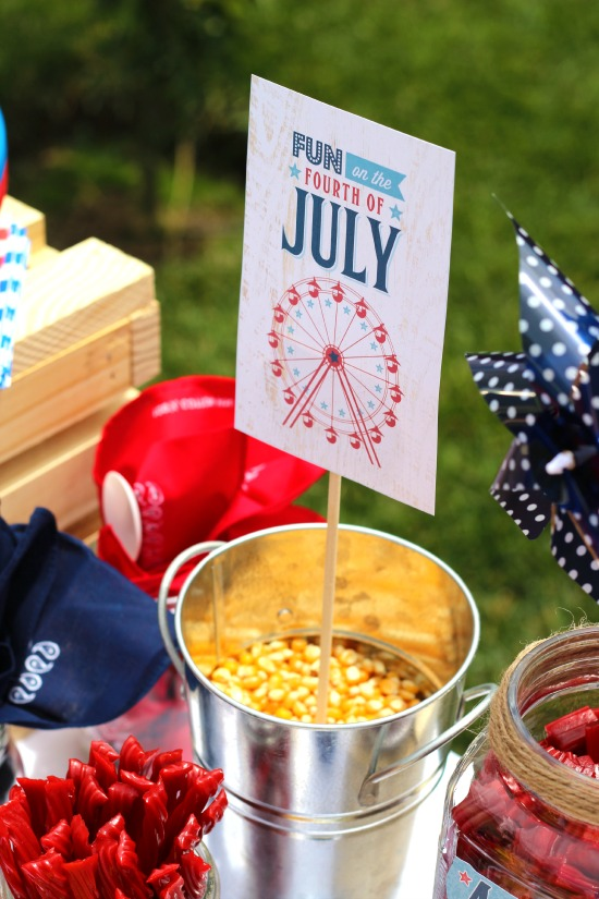 Take your 4th of July BBQ up a notch with a County Fair inspired backyard get together! Complete with all American hot dogs, Twizzlers flag cookies, Red, White, &Blue fruit cups, and Americana decor.