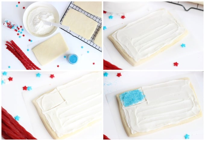 These flag sugar cookies are so easy to make with rectangle cookies and red licorice! Planning a BBQ for Memorial Day or the 4th of July? Don't forget a sugar cookies station for the kids!