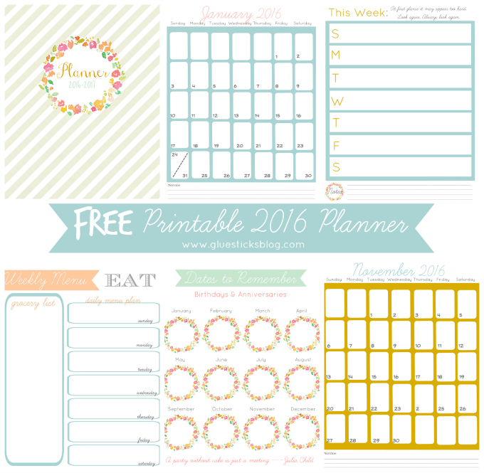 Printable Monthly Planner 2015: Free Printable 2016 Planner