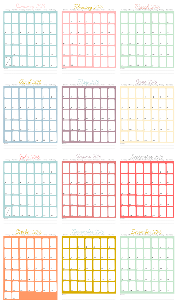 2016 printable calendar pages