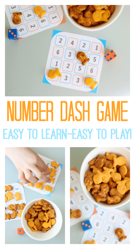 Looking for a quick and easy printablegame for kids to play? Number dash takes 10 seconds to learn and is SO fun! Perfect for a rainy day.