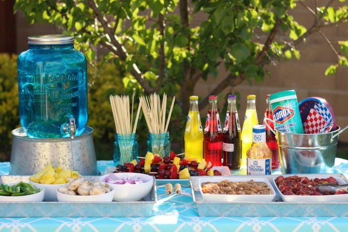 Summer Kebab Party! The perfect outdoor meal to enjoy with family and friends. Provide a variety of meats and veggies for guests to create their own kebabs and then grill to perfection.