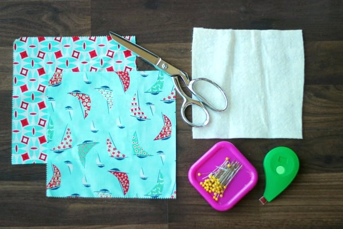 supplies to make sunglasses case fabric, scissors, pins, batting, measuring tape
