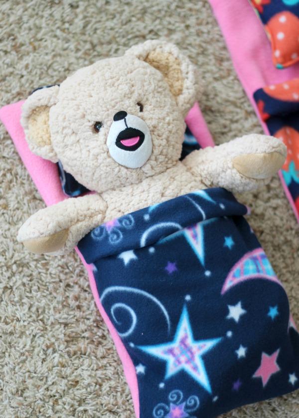 finished teddy bear sleeping bag