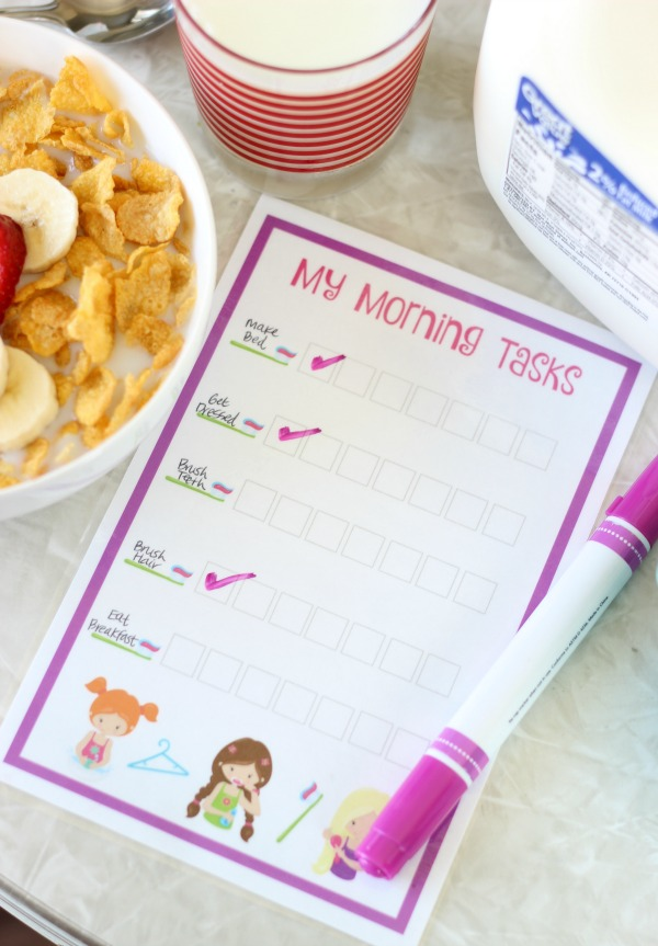 morning tasks chart for kids