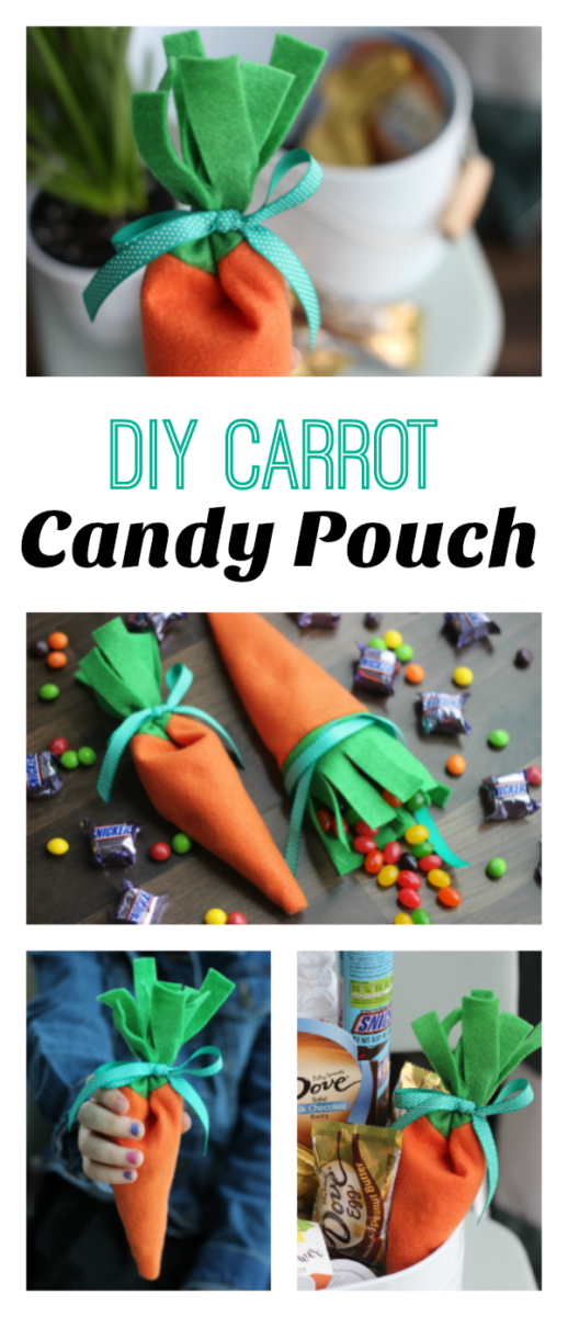 A quick 10 minute project. These carrot felt candy pouches are perfect totuck inside an Easter basket!