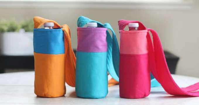 Color Block Fabric Water Bottle Holder Tutorial