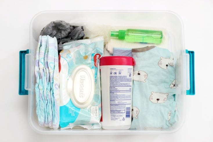 Every mom needs an emergency diaper changing kit to keep in the car. A friend gave one to me, and now I'm giving one to you. You'll thank me someday!