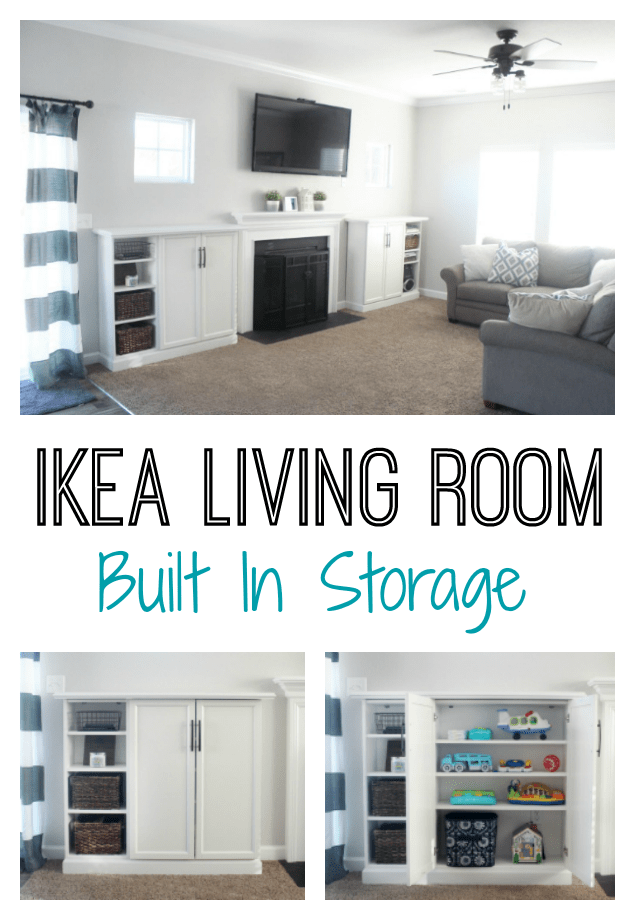 Add storage to your living room by by making IKEA built-ins