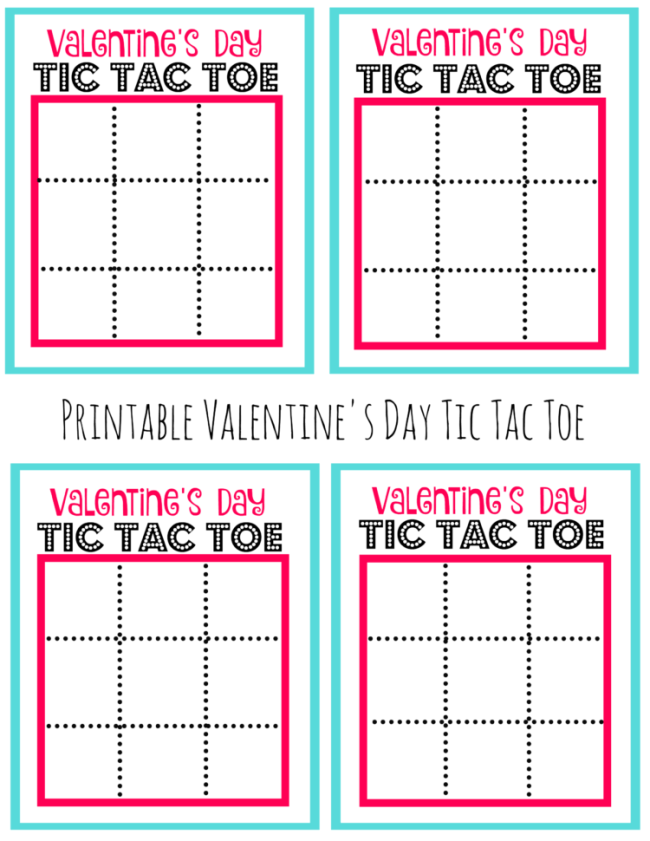 Monster image in valentine tic tac toe printable