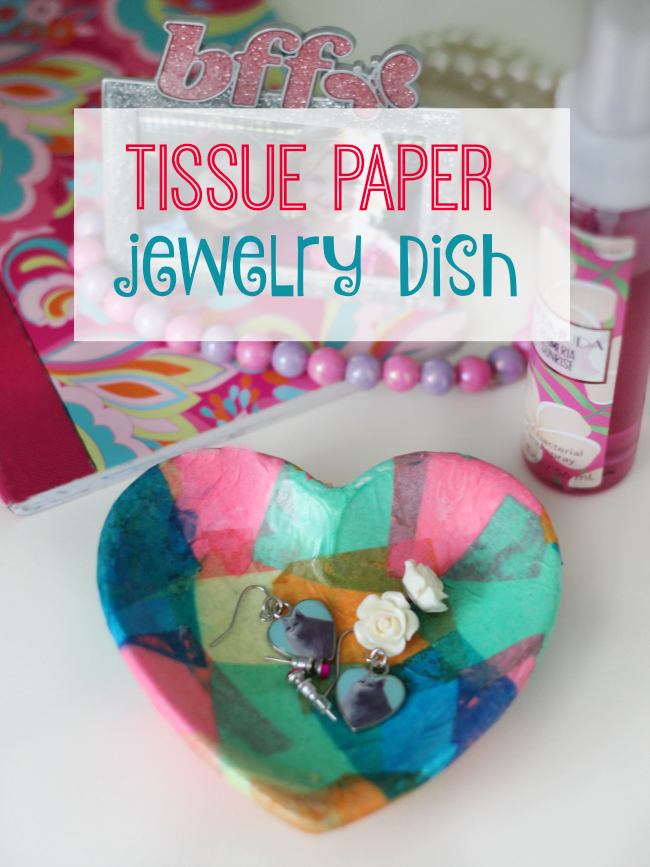 Add a bit of mod podge and tissue paper and completely transform this small bowl into a homemade jewelry dish! This technique also works on plates, jars, vases, and tile!