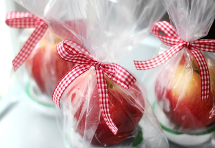 Caramel apple dip gift pack! A quick and easy gift idea! Wrap up your favorite variety of apple with a package of caramel dip! Tie with a gingham bow for a beautiful (and simple) gift idea this fall.