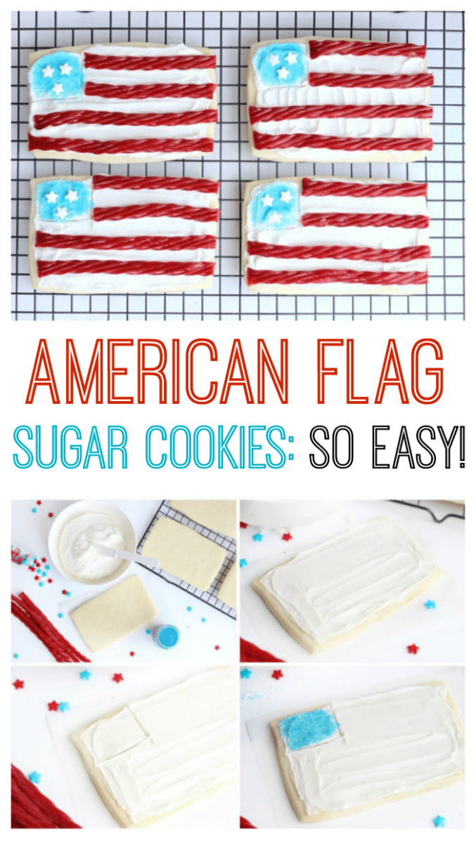 Planning a BBQ for Memorial Day or the 4th of July? Don't forget a sugar cookies station for the kids! These American flag sugar cookies are so easy to make with rectangle cookies and red licorice!