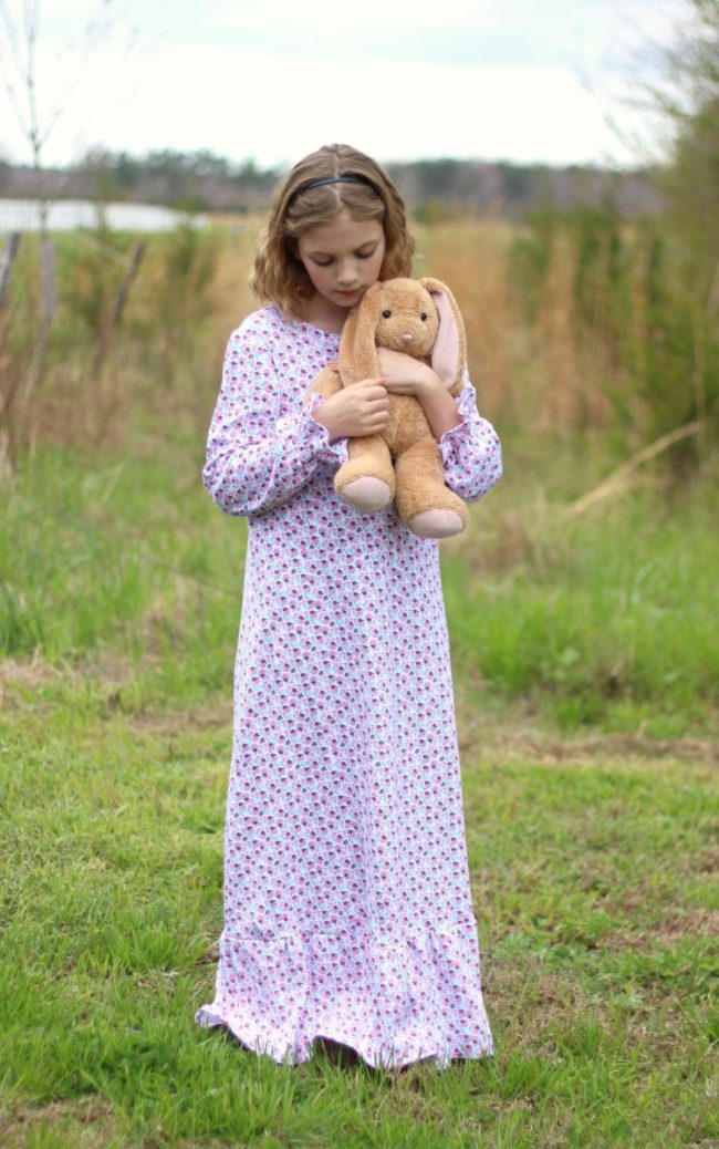 If you've been intimidated by sewing with knit fabric you will love the simplicity of this nightgown pattern.An easy one hour sewing project for little girls that comes together to create a soft and feminine little nightgown. Make one for every season with the 4 customizable sleeve and hem lengths!