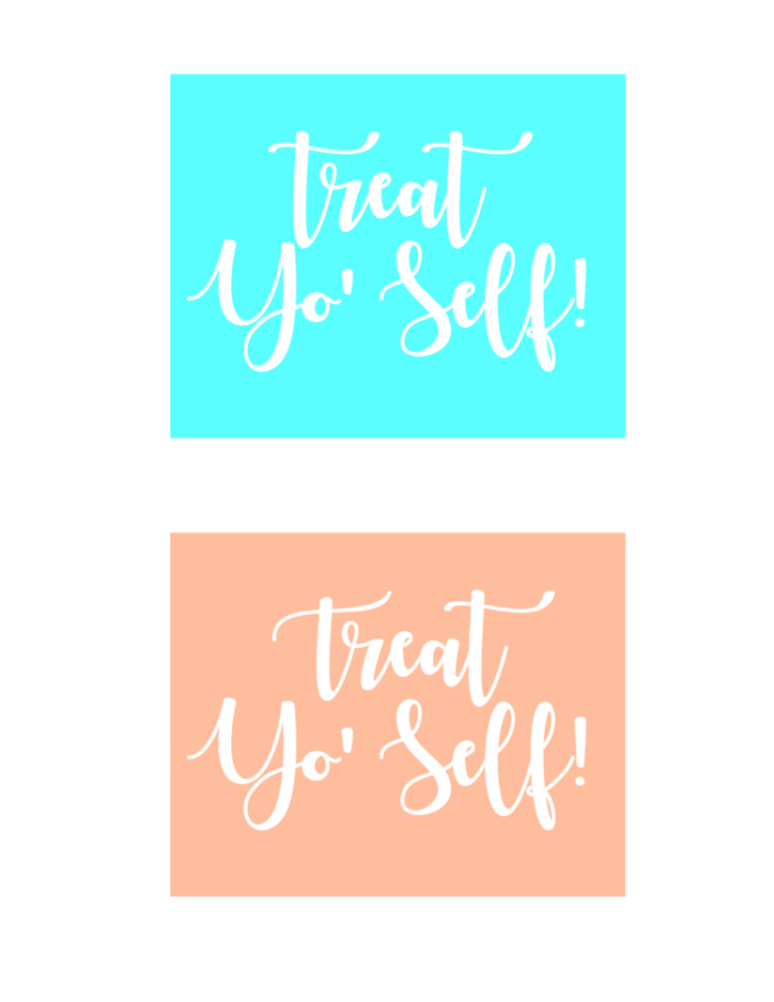"""Add this fun printable to a dessert in a mugkit for a fun birthday, teacher, or anytime gift idea! """"Treat Yo'Self !"""" A quick 5 minute gift idea."""