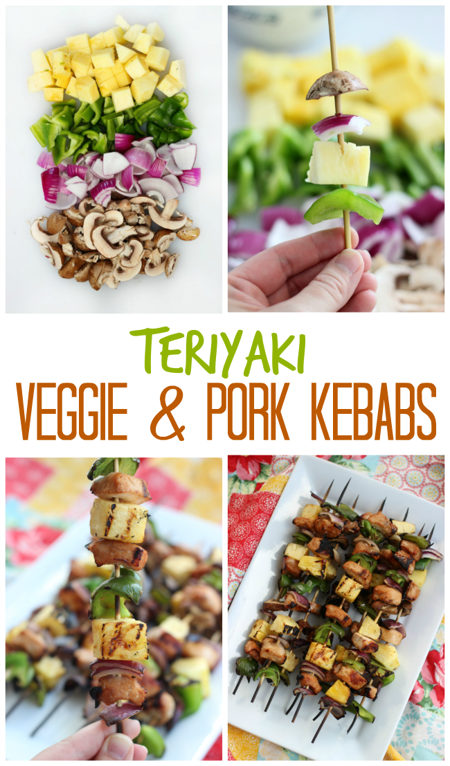 Veggie and pork kebabs in 30 minutes! Marinated pork chops and fresh veggies are grilled to perfection for this quick and easy summertime meal!