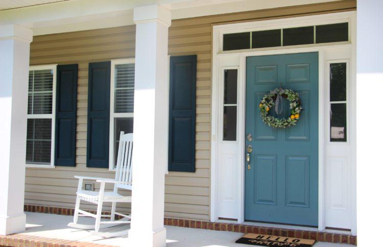 citrus wreath on front door