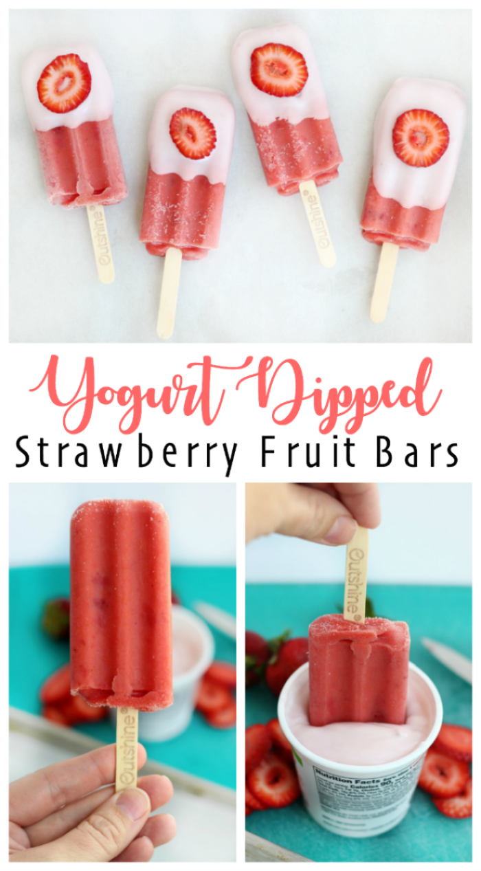 These real strawberry fruit bars are dipped in low-fat strawberry banana yogurt and topped with a fresh strawberry slice. It's like a smoothie on a stick!