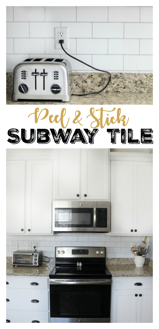 Transform your kitchen with a $35 subway tile backsplash using wallpaper! This peel and stick wallpaper is inexpensive and easy to work with!