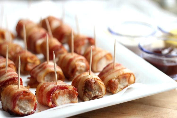 These bacon wrapped pork loin bites are crispy and juicy, come together in 30 minutes and are a the perfect party appetizer!