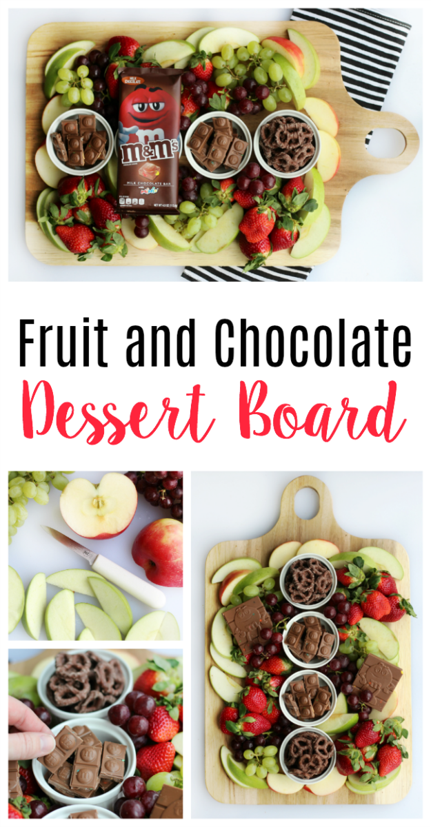 A simple and sweet chocolate dessert board with fruit! Perfect for a gathering! Strawberries, grapes, apples and two types of chocolate.