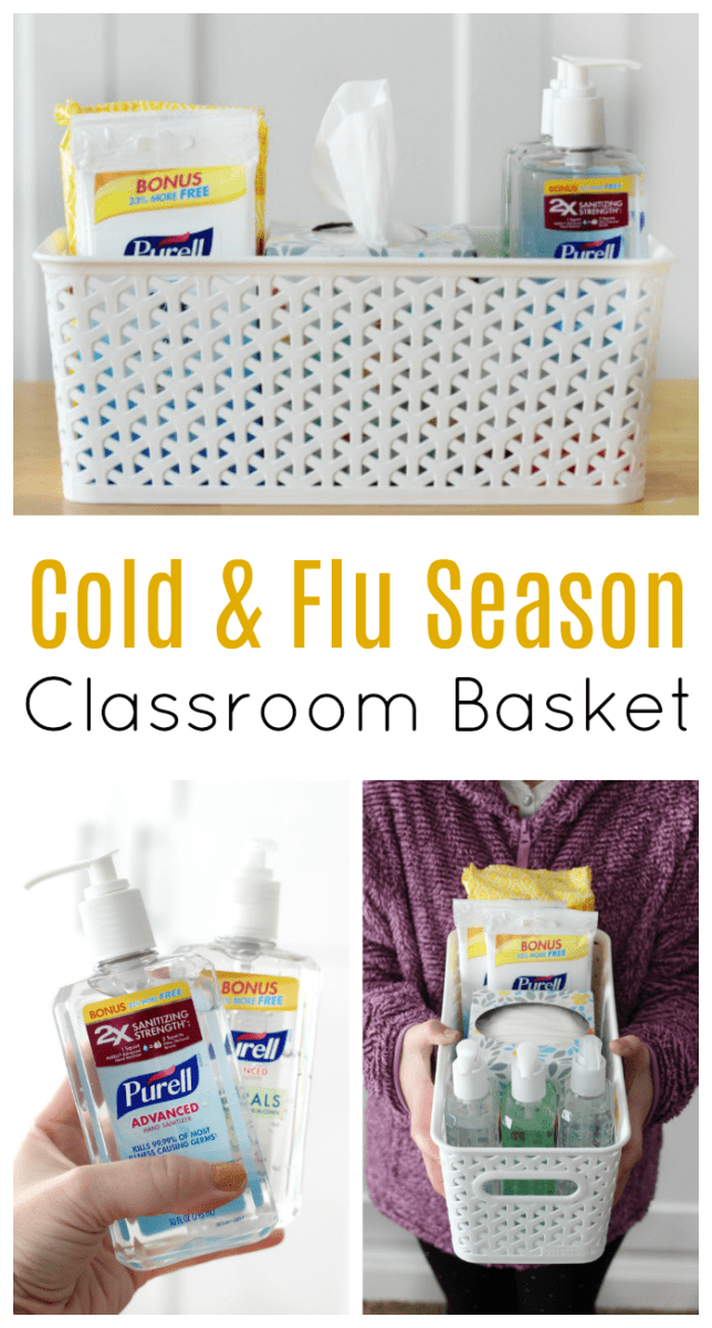 Fill a basket with cold and flu prevention supplies for a classroom gift that the teacher and parents of students will appreciate this time of year!