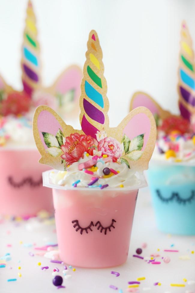 unicorn pudding cup