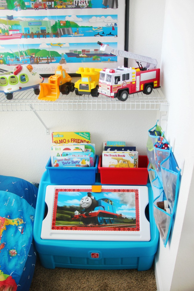 step2 toys storage box in toddler bedroom closet
