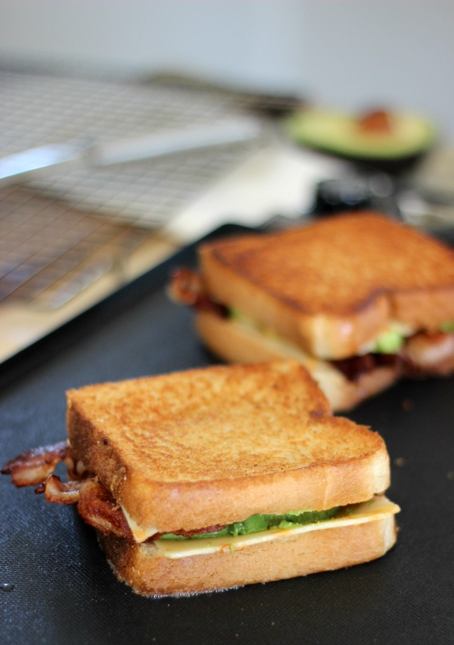 grilled cheese sandwich on grill