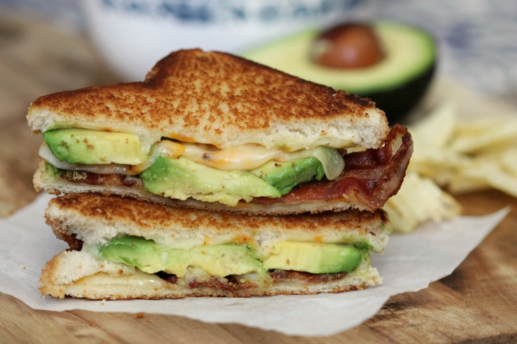 avocado bacon grilled cheese sandwich stacked