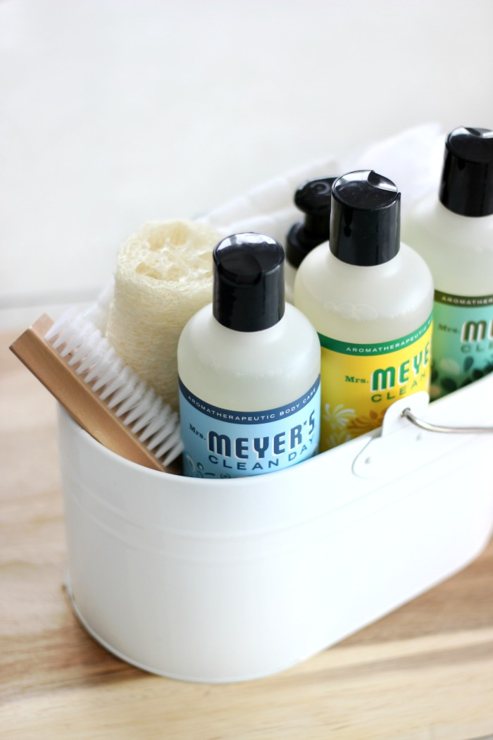 This Mother's Day pamper mom with a bath and body gift basket filled with a collection of Mrs. Meyer's Clean Day Body Wash, lotion, body pouf, soft wash cloths and more!