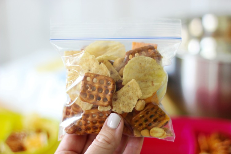 snack baggie filled with snack mix