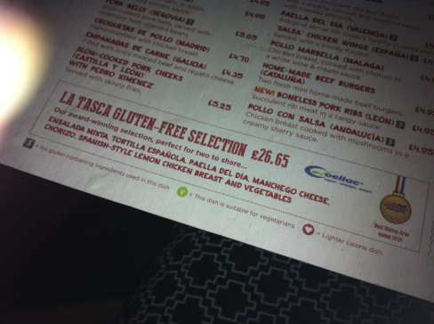 photo of the Coeliac UK accredited La Tasca menu
