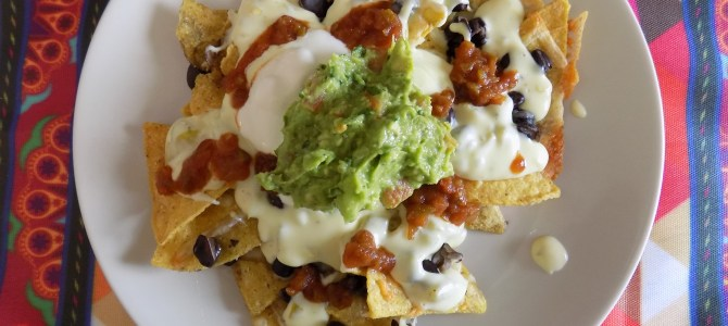 Nachos with gluten free cheese sauce