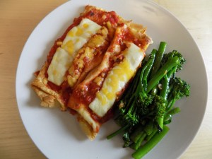 gluten free crepes with cheese and tomato sauce