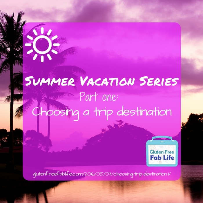 This first part of my three-part summer vacation planning series focuses on choosing a trip destination based on your needs and desires.