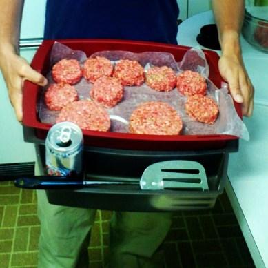 Homemade green chile stuffed hamburgers and sliders