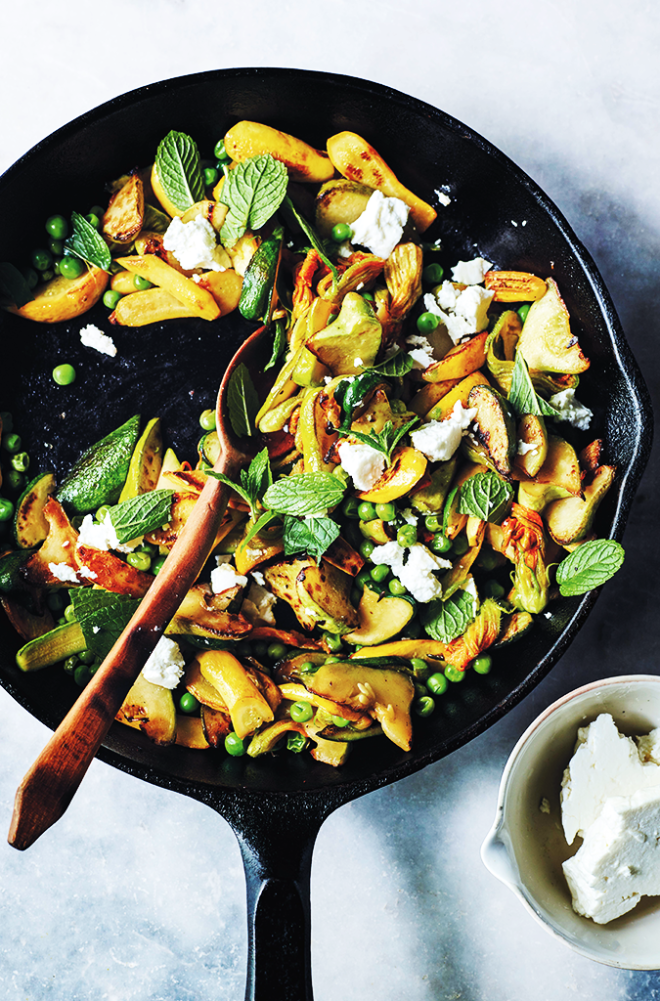 Summer Squash and Blossom Sauté with Mint and Peas recipe Gluten Free Foodie