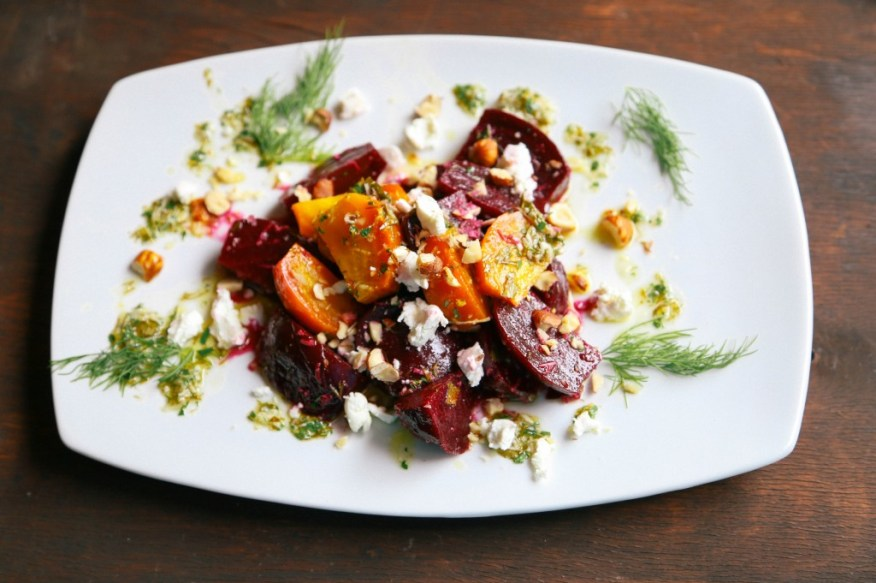 roasted beet salad with dill horseradish vinaigrette