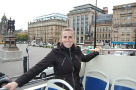 Atop of a tour bus in Glasgow, Scotland