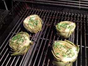 Rounded side down on the grill