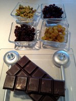 Assembling the fruit and nuts, and weighing the chocolate