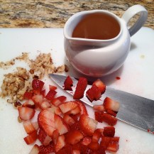 Diced strawberries and chopped walnuts