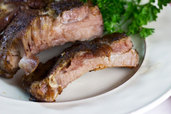 gluten free barbecue ribs on a white plate