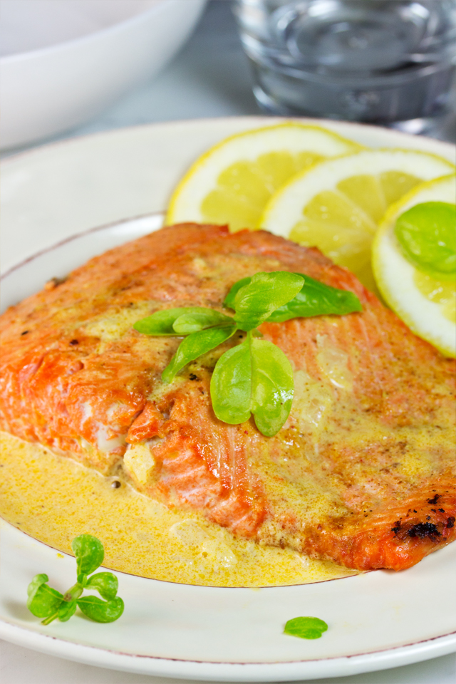 close up of finished salmon