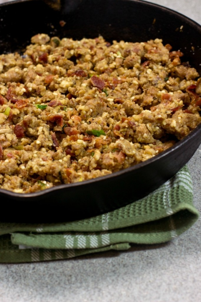 stuffing in a cast iron skillet