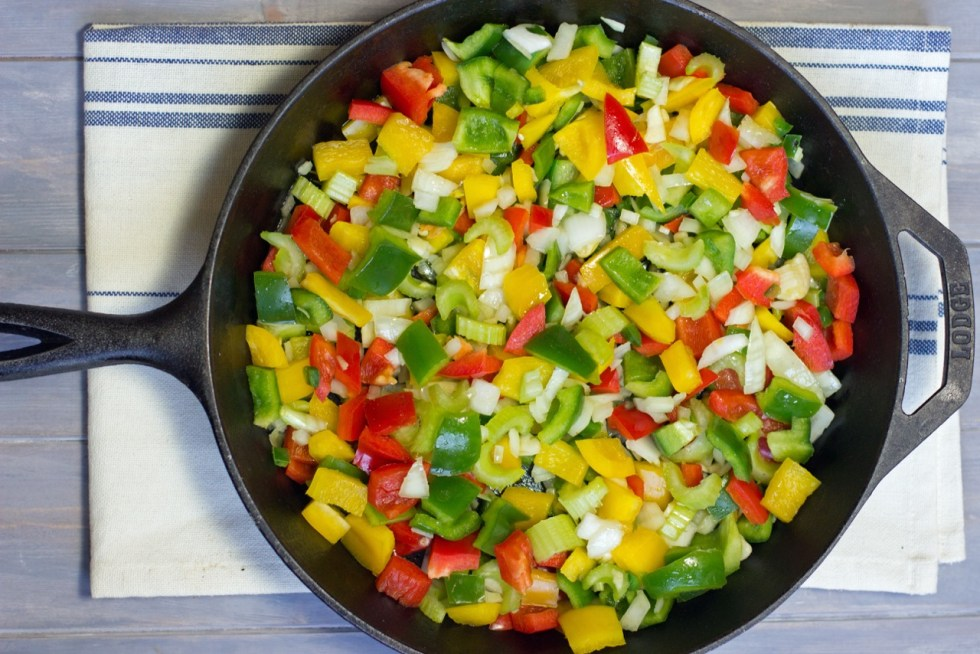 vegetables for Jambalaya in a cast iron pan