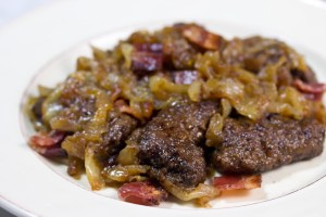 beef, liver, onions, bacon, paleo, gluten free, quick easy recipe